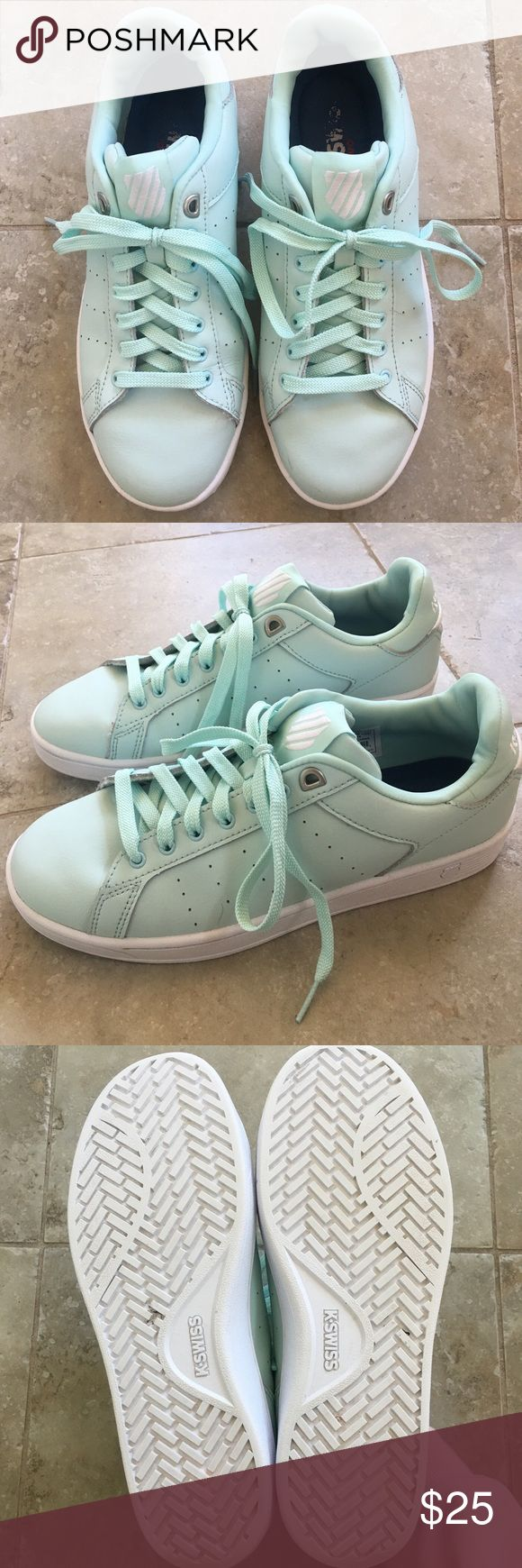 K Swiss shoes Women's K Swiss shoes.  Size 8.5.  Used, still good condition.  A few scuffs on the outsides and on soles.  Slight wear on the bottom soles and insoles as shown in photos.  No shoe box. K Swiss Shoes Sneakers
