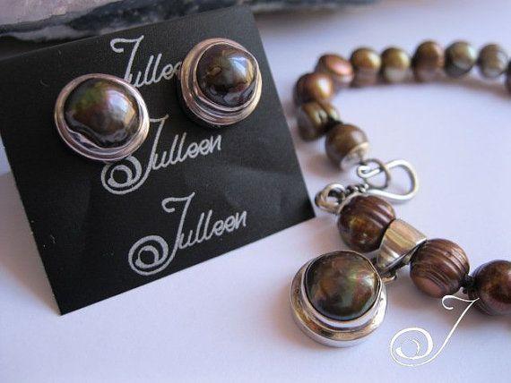 Julleen Black Baroque Pearl Bracelet Set by JulleenJewels on Etsy