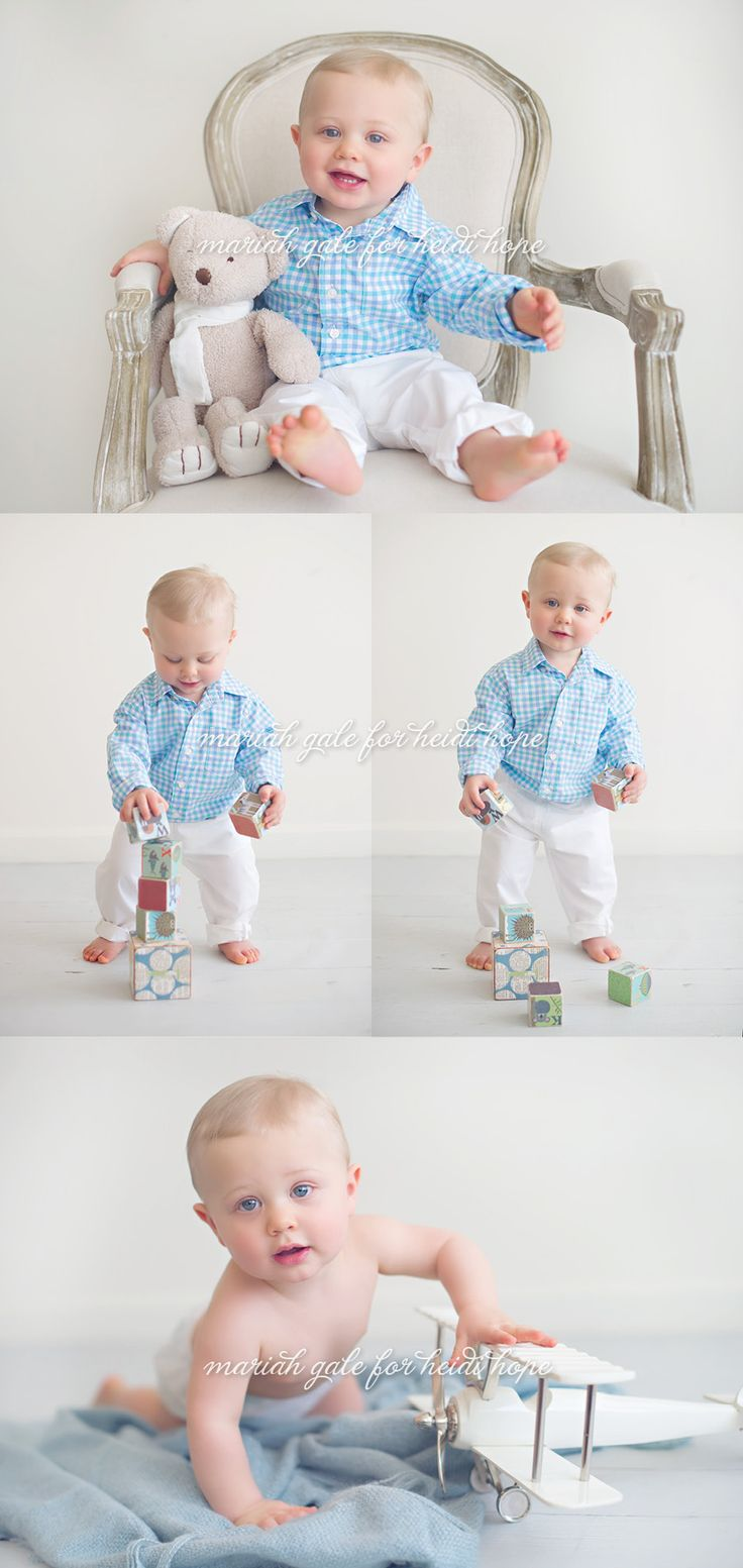 First birthday portraits! Baby boy in baby blue. By Heidi Hope Photography