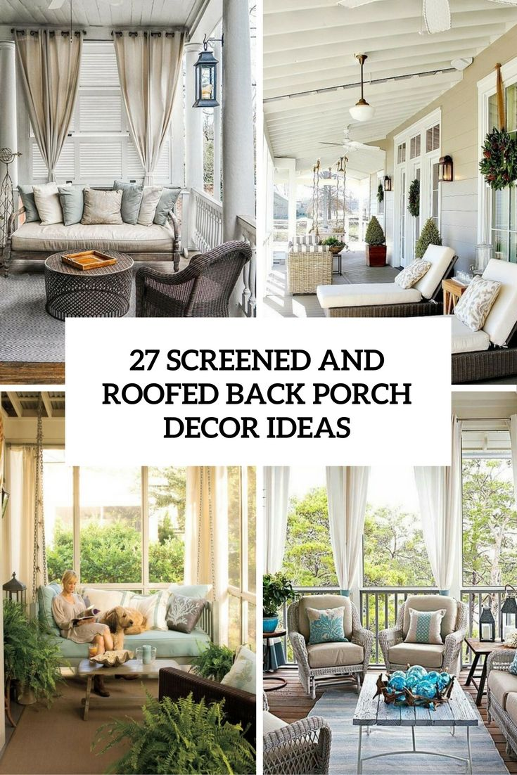 Porch Design Ideas a gorgeous screened porch with beautiful flooring and elegant furniture in dark wicker and pale green 27 Screened And Roofed Back Porch Decor Ideas Shelterness