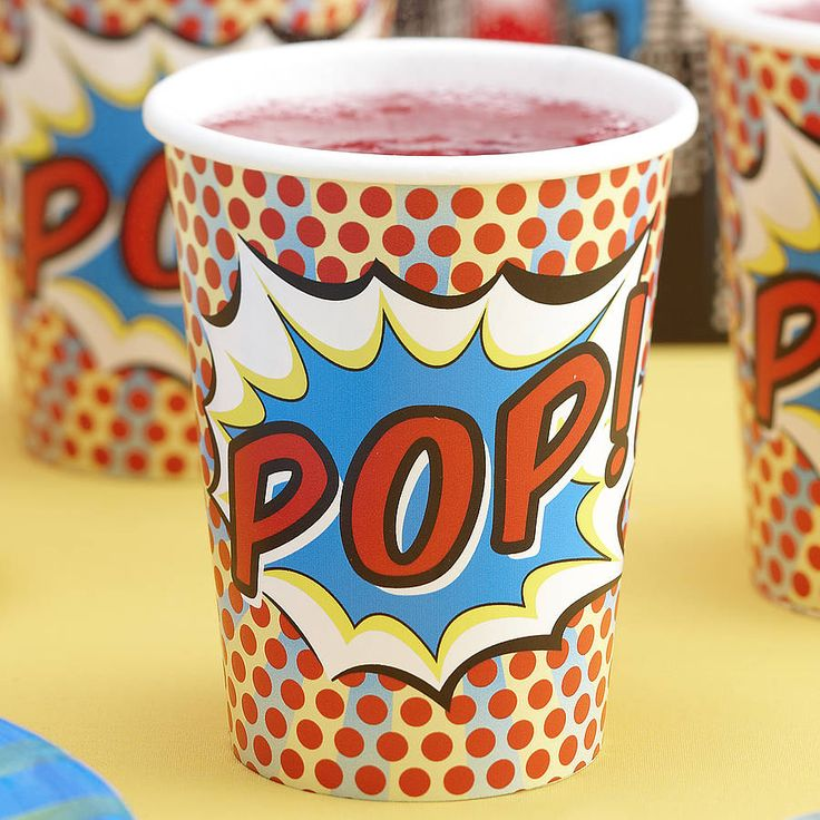 """Fun cups for a children's super hero party, or for theme parties for grown-ups, such as a Comic-Con party or a recognition reception for volunteer """"heroes."""""""