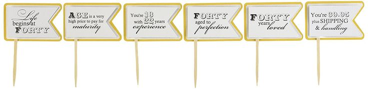 All About Details Gold Matte 40th Birthday Quotes Cupcake Toppers, Set of 12 ^^ Click image to get this special deal : Baking decorations