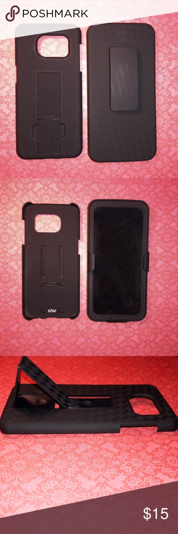 Samsung Galaxy S7 EDGE Textured Holster Case Elevated edges allows for secure usage preventing your screen from being shattered if dropped.*Rubberized textured finish conveniently provides outstanding grip.*The belt clip rotates 180 degrees to provide you with ultra-flexibility. Enjoy all your media along with Amazon Prime videos and Netflix videos with the ingenious built in kickstand.*Easy access to all your functional buttons (power, mute, volume, and home buttons).*Ultra-light casing…