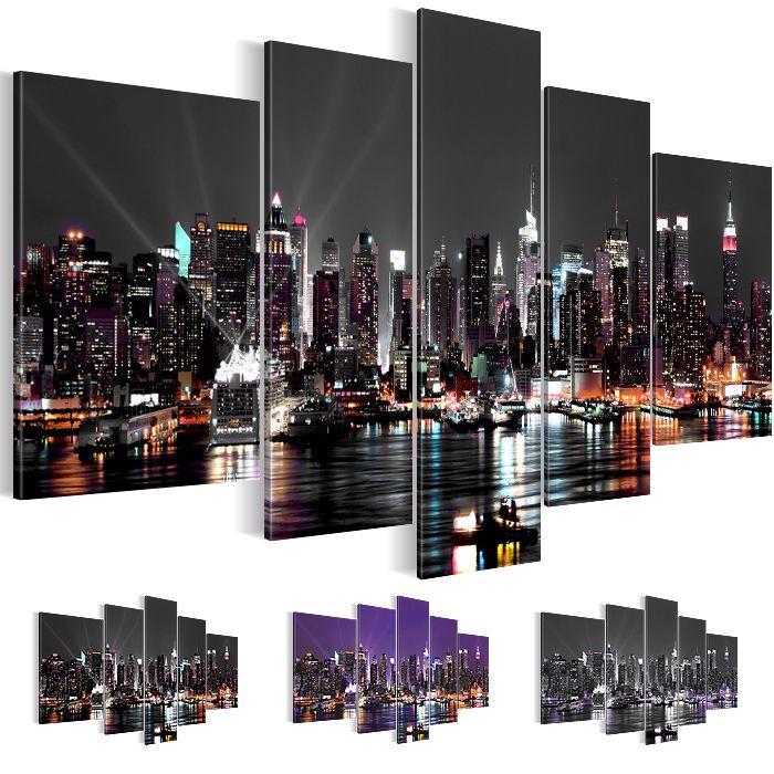 bild leinwand bilder kunstdruck new york skyline deko lila grau 5tlg 6019516_27 - Weiss Grau Wohnzimmer Mit Violett Deko