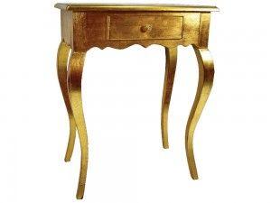 Konzolový stolík Bolzanoi G 62cm  Krásny konzolový stolík Bolzanoi zlatej farby s jedným šuflíkom. Určite si tento malý elegantný skvost nájde miesto vo Vašom interiéri.  Šírka: 62cm  Dĺžka: 40cm  Výška: 80cm  Materiál: drevo  Dostupné farby: zlatá, strieborná