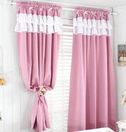 Pink curtains for girls' room.