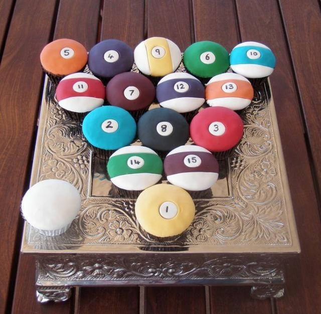 Billiard balls cupcakesBall Cupcakes Jpg, Decor Ideas, Cupcakes Ideas, Cupcakes Decor, Billiard Cupcakes, Cups Cake, Billiard Ball, Cupcake Decorations, Cupcakes Rosa-Choqu