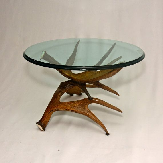 Etsy Round Coffee Tables: Moose Antler Coffee Table W/ Glass Top By UniqueAlwaysLLC