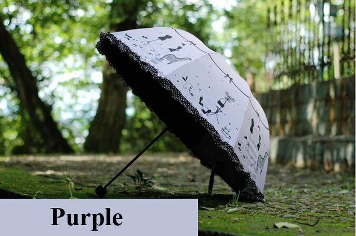 Super Anti-uv Sun Protect Umbrella High heels 3 Folding Parasols Rain Umbrellas