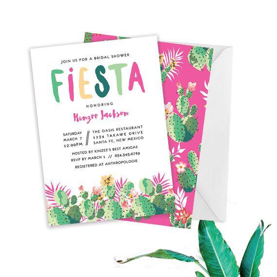 Fiesta Bridal Shower // Mexican Bridal Shower Invite, Summer Fiesta Wedding…