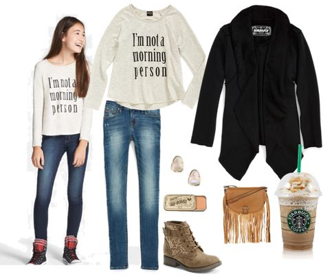 Stylish back to school outfits. Tween Girls tops, skinny jeans, boots, accessories and more for less. Cool back to school outfit first day in middle school.