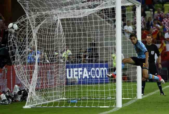 Spain 1 Croatia 0 in 2012 in Gdansk. Jesus Navas scored in the 88th minute and Spain lead 1-0 in Group C at Euro 2012.