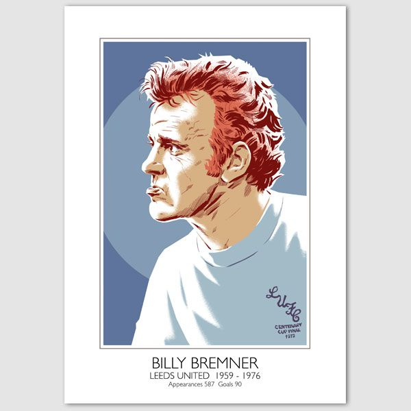 Feisty Leeds Utd captain Billy Bremner, pictured in classic all white 1972 Centenary FA Cup Final shirt, when he captained Leeds to victory against Arsenal. https://www.etsy.com/uk/listing/167048631/billy-bremner-leeds-united-portrait?ref=shop_home_active_1