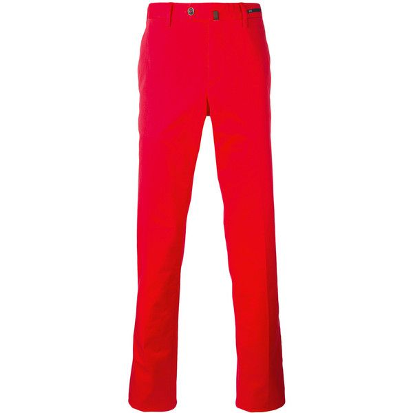Pt01 slim-fit trousers (€170) ❤ liked on Polyvore featuring men's fashion, men's clothing, men's pants, men's casual pants, red, mens slim pants, mens slim fit pants and mens red pants