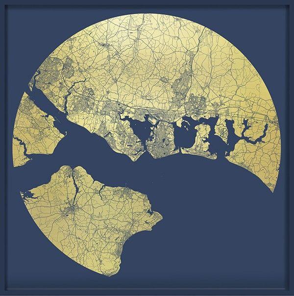 Ewan David Eason - Portsmouth Mappa Mundi America's Cup (Naval Blue) - courtesy of TAG Fine Arts