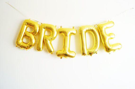 FREE SHIPPING gouden BRUID 16 brief ballon door StephShivesStudio