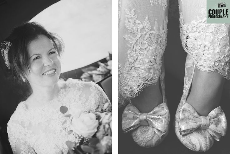 The bride smiling as she arrives for the wedding ceremony and a cute photo of the bride's bow shoes. Weddings at Tulfarris Hotel by Couple Photography.