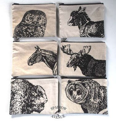 Sparrow Avenue: Screen prints of some of my animal drawings resembling vintage wood block prints or steel engravings. These are pouches with 6 in. black zippers.