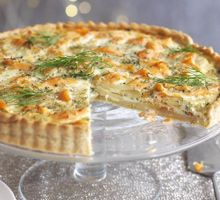 Salmon, dill & potato tart. This delicious smoked salmon tart makes a light alternative for lunch