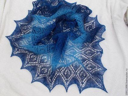 Шаль Лагуна - голубой,рисунок,шаль,шаль вязаная,шаль ажурная,шаль спицами