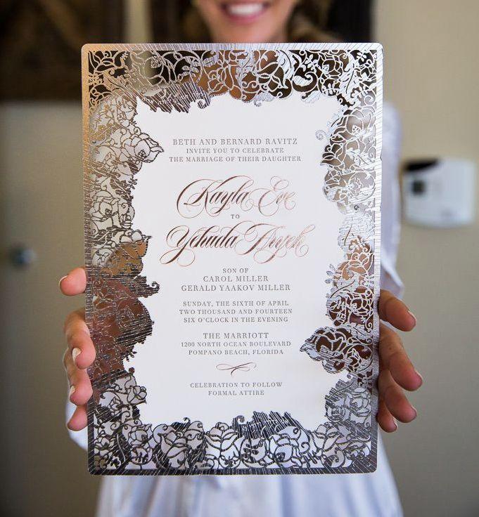 Impresionante trabajo en corte láser. tendencias en invitaciones de boda con corte laser