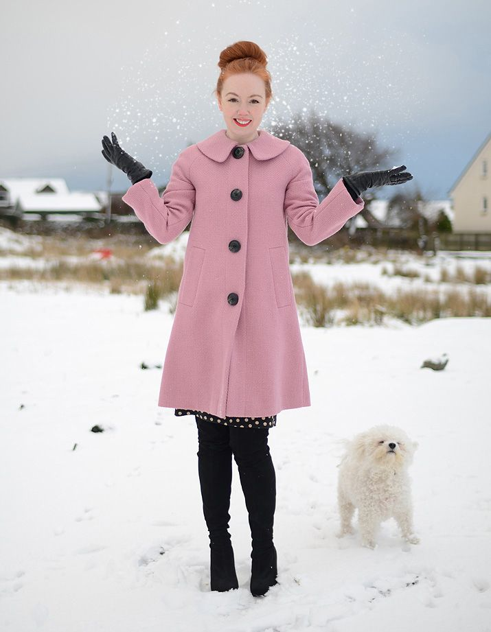 pink Boden coat in the snow foreveramber black high boots heels white dog snow redhead ginger beautiful <3