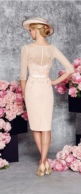 This Beautiful Round Collar Light Pink Mid-Long Bridal Mother of the Bride Dress is fitted and has astonishing detailing throughout. An absolutely stunning embellished dress and matching jacket in Blush/Ivory. You'll get a superb matching frock coat made from chiffon with mid-length sleeves with this mother of the groom dress (or bridesmaids dress, prom dress). || More at http://www.cutedresses.co/product/round-collar-light-pink-mother-bride-dress