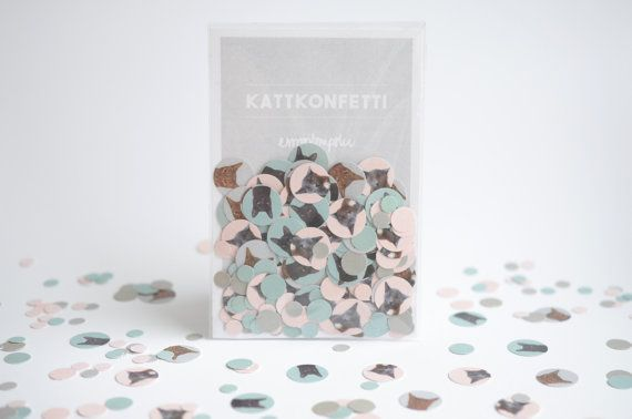 Cat confetti   Pink grey and green mix with cat by Empilompski