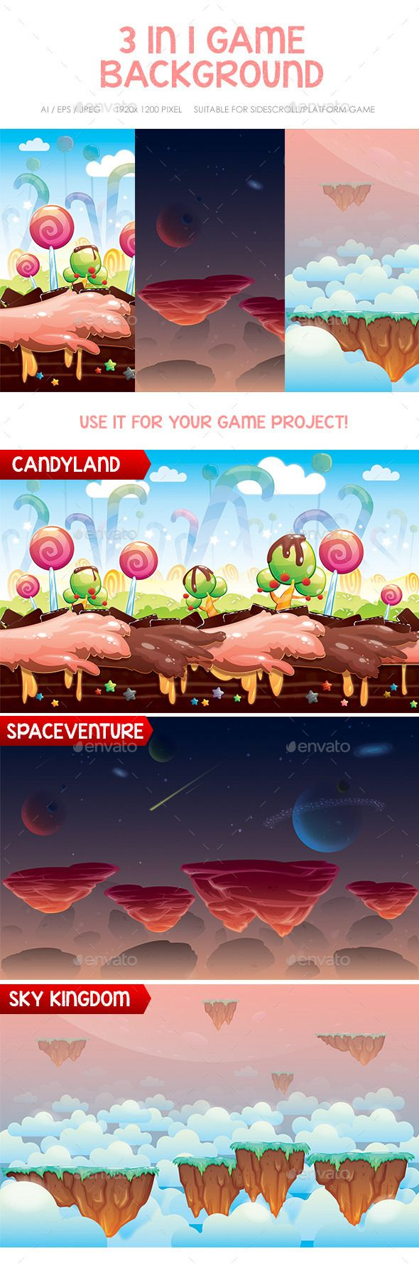 Space, Candy & Sky Game Background — Vector EPS #scrolling #cloud • Available here → https://graphicriver.net/item/space-candy-sky-game-background/12411218?ref=pxcr