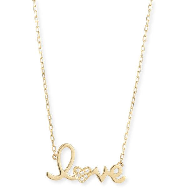 """Sydney Evan 14k Gold Diamond """"Love"""" Necklace ($635) ❤ liked on Polyvore featuring jewelry, necklaces, white gold, 14k gold pendant, gold heart pendant, gold pendant necklace, gold necklace and yellow gold necklace"""