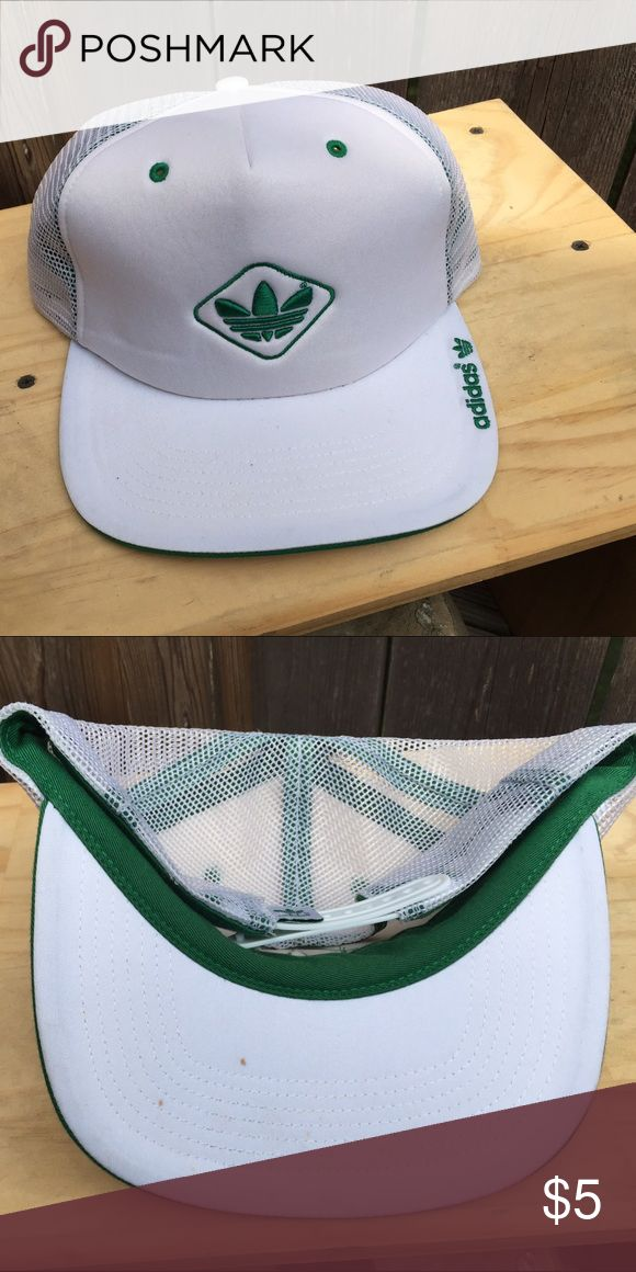 ⚡ADIDAS ️TRUCKER CAP⚡️ Nice looking white and green adidas trucker cap. Still looks knew.*Gentle worn* *two tiny brown spots,view pic** Unisex Adidas Accessories Hats