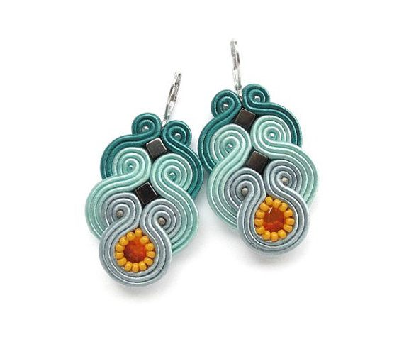 Teal and Orange Soutache Earrings Statement Color by mintESSENCE, $35.00