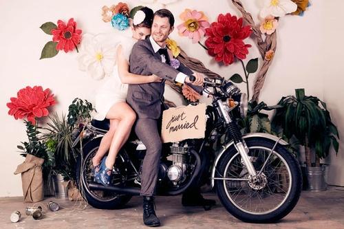 """""""Just Married"""" motorbike"""