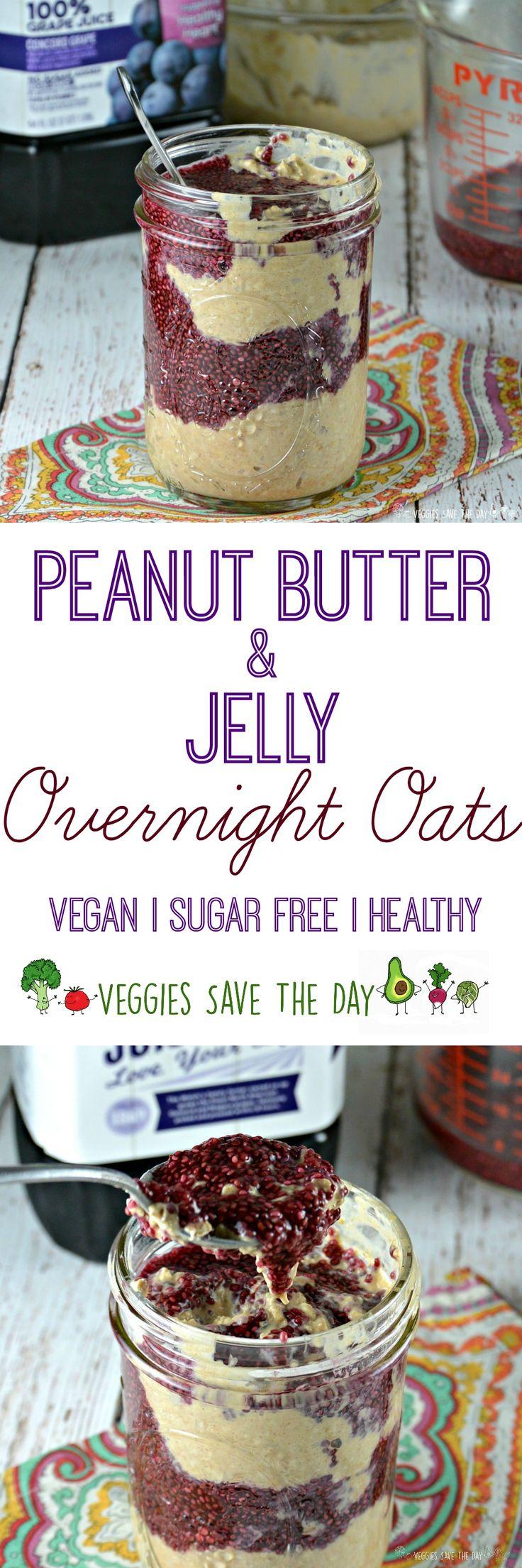 Peanut Butter & Jelly Overnight Oats (COUPON for @Welchs 100% Grape Juice https://ooh.li/b8b09f2 #sponsored #IHeartPurple #AmericanHealthMonth #Welchs