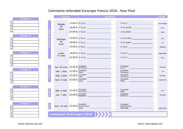Calendario rellenable Eurocopa 2016