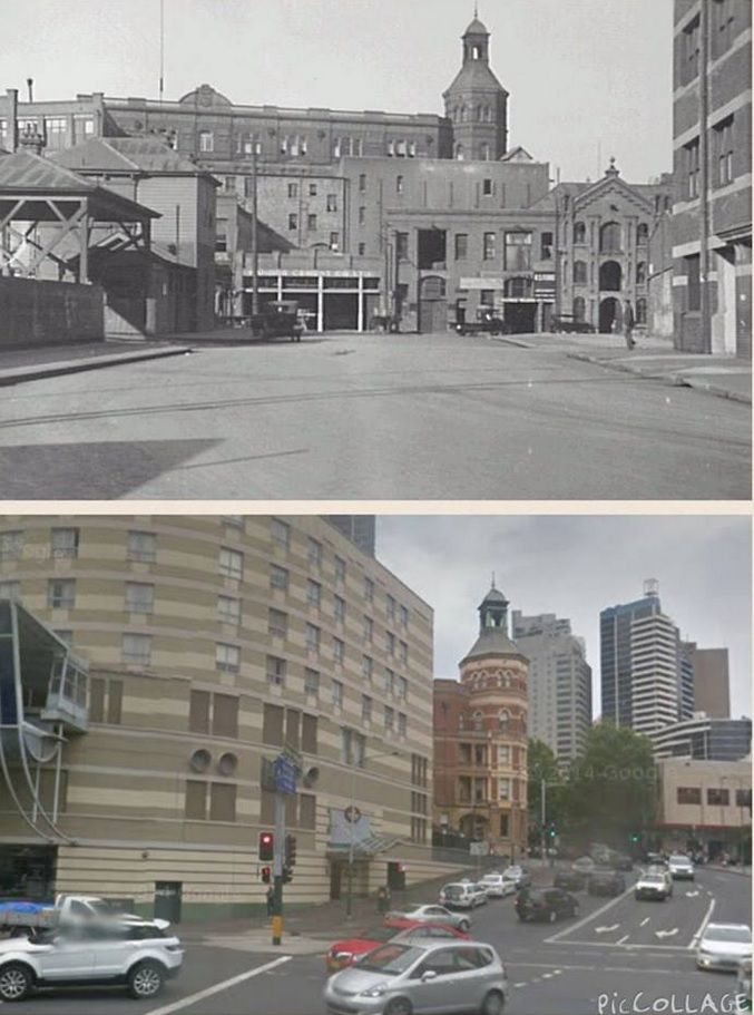 1932 photo of Pier St Haymarket looking east, although with the extension of Goulburn st, it is now the main intersection of Harbour St/Goulburn St and Pier St. The Trades Hall Tower located on the corner of Goulburn St/Dixon St is the only reference between the 2 photos. [1932 City of Sydney Archives vs 2014 Google Streetview. By Steve Elliott]
