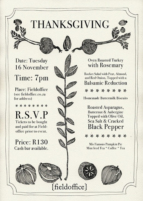 love the illustration here in this Thanksgiving invitation