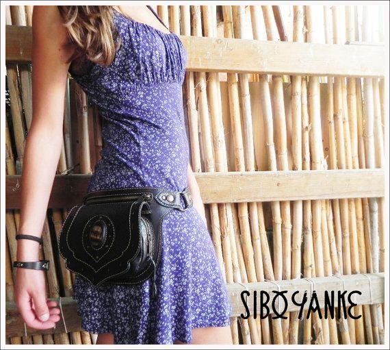 Leather Utility Belt. STALACTITE stone. Waist Bag. by SiboYanke