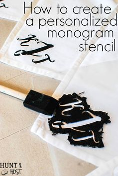 How to create a personalized monogram stencil tutorial. Great for wedding gifts, house warming presents or birthday and Christmas gifts!