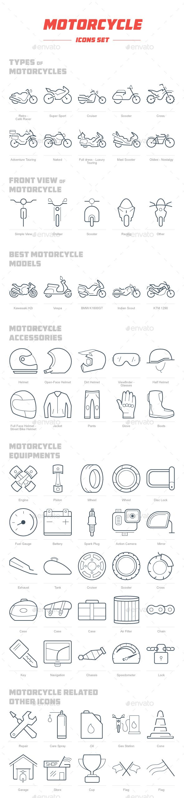 Motorcycle Icon Set — PSD Template #cruiser #Best Motorcycle Models • Download ➝ https://graphicriver.net/item/motorcycle-icon-set/18365362?ref=pxcr More
