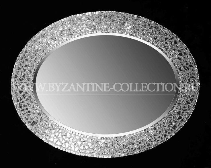 """Зеркало овальное из смальты белого золота """"Золото Византии"""""""