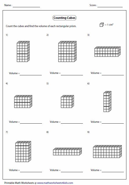 Volume Worksheets 6th Grade : Volume of rectangular prism by counting cubes math