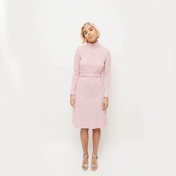 Vintage 60s Pink Turtleneck Dress/ Vintage Pastel by TheWanderly