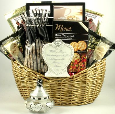 The happy couple will be thrilled when they receive this large and elegant wedding or shower gift basket filled with unique gifts and an incredible selection of delicious gourmet treats  They are sure to fall in love with this large wedding gift basket that features a golden wicker basket filled with lots of tasty goodies for them to enjoy as well as some elegant keepsakes and gifts     $99.99 http://www.littlegiftbasketboutique.com/item_743/Wedding-Bells-Wedding-Gift-Basket.htm