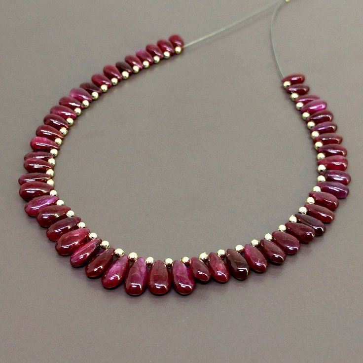 Ruby 7-10mm Smooth Pear Shape Briolette Strands
