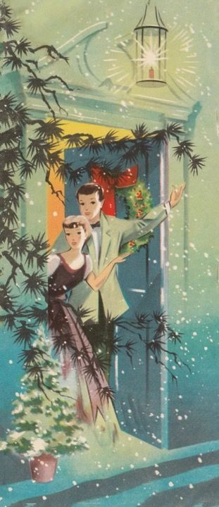 Christmas greetings. Looks like this may be the 1st Christmas together as a married couple. Cute image.