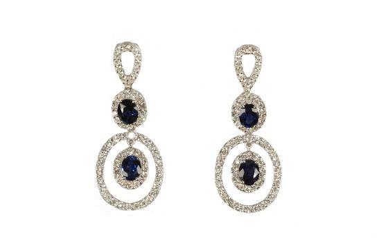 Sapphire & Diamond Earrings - Nazar's Fine Jewelry