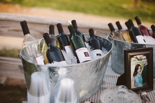 Self-serve wedding bar with Trader Joe's wine :) http://www.neverseriousblog.com/the-perfect-day-wedding-recap-part-3/