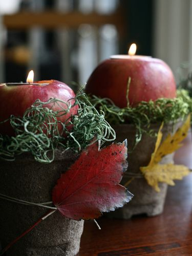 Use apples to craft a glowing, sweet-smelling centerpiece.: