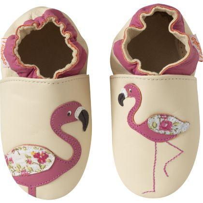 chaussons bébé cuir souple - armand le flamant rose - 800png